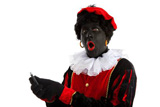 zwarte+piet+%28+black+pete%29+with+mobile+phone