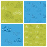 Set+of+Seamless+backgrounds+with+Bikes+and+Cars+-+for+design+and+scrapbook
