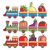 Vector+illustration+of+funny+cartoon+train%2C+moving++the+fruits+and+vegetables