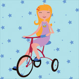 Vector+Illustration+of+funky+little+girl+riding+a+bicycle