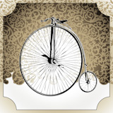 Illustrated+vintage+background+with+old+bicycle