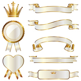 ribbon emblem set gold