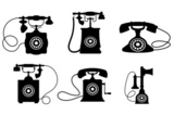 Set+of+old+vintage+telephones+isolated+on+white+background+for+telecommunication+design