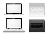 laptop+view+from+the+front+and+top.+Vector+illustration+on+white