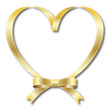 Heart type golden ribbon