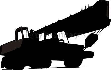 クレーン車のシルエットの写真イラスト素材 Gf2200723289 ペイレス