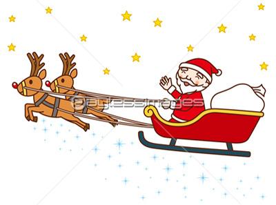 トナカイのソリに乗るサンタクロースの写真イラスト素材 Gf1060467289