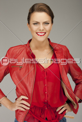64a4072bd lovely woman in red leather jacketの写真・イラスト素材 (ld0010006344 ...