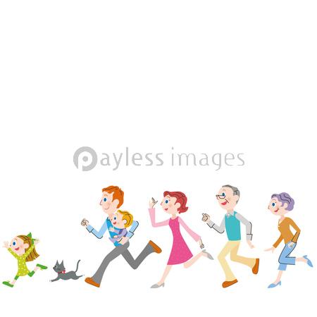 横に並んで走る三世代家族の写真イラスト素材 Xf4045158807