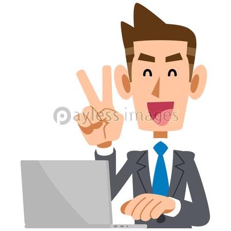 Vサインするビジネスマンとノートパソコンの写真イラスト素材