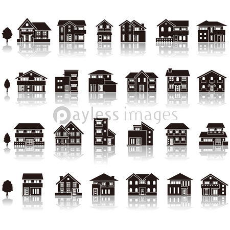 建物アイコン / シルエットの写真・イラスト素材 (xf3455169004