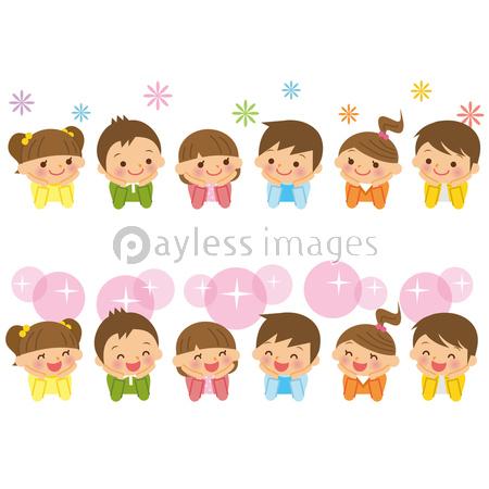 頬杖をつく子供たちの写真イラスト素材 Xf3055173167 ペイレス