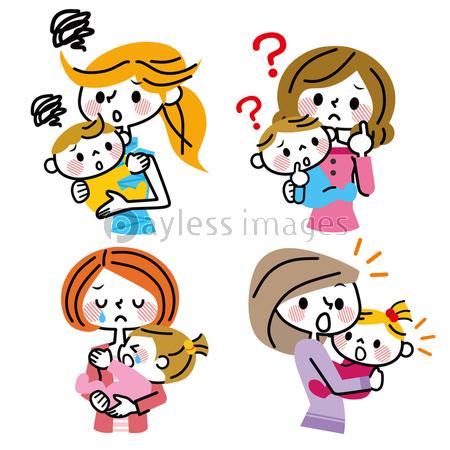 母子 表情 ネガティブの写真イラスト素材 Xf3055179850 ペイレス