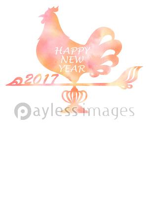 オナガドリと雪輪の年賀状の写真イラスト素材 Xf5135175520