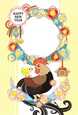 17年酉年完成年賀状テンプレート 花注連縄と鶏親子フレーム Happynewyear 茶 ストックフォトの定額制ペイレスイメージズ