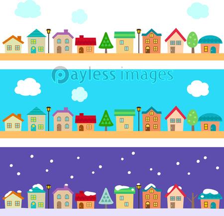 かわいい街並み 冬雪の写真イラスト素材 Xf3975198948 ペイレス