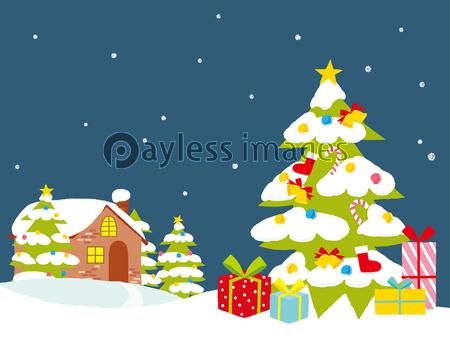 クリスマスの街並の写真イラスト素材 写真素材ストックフォトの定額