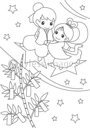 七夕ぬりえの写真イラスト素材 Xf5525207629 ペイレス