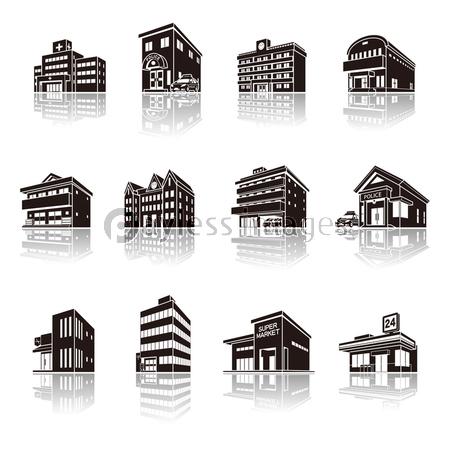 建物の影のイラスト 立体図形の写真イラスト素材 Xf3455209765