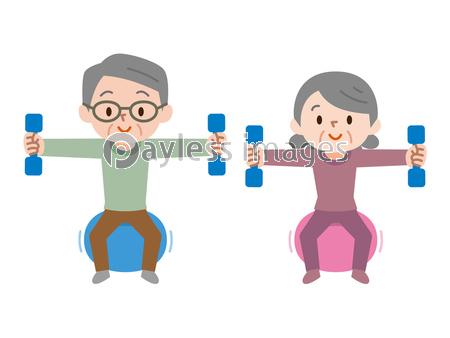 体操をするシニア夫婦の写真イラスト素材 Xf3265127882 ペイレス