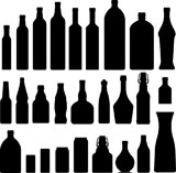 Bottles+and+jars+set+in+vector+silhouette.+Suitable+for+soda%2C+alcohol%2C+wine%2C+liquor%2C+and+water.