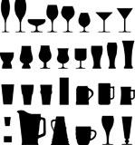 A+large+set+of+vector+silhouettes+of+alcohol+and+coffee+drink+glasses%2C+cups%2C+and+mugs.