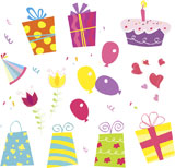Birthday+vector+set.+Including+birthday+gifts%2C+flower%2C+cake%2C+ribbon+and+birthday+hat.+